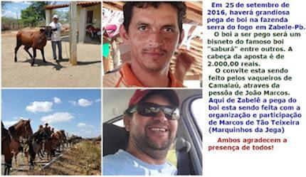 Pega de boi em Zabelê- Pb ( Nova data)
