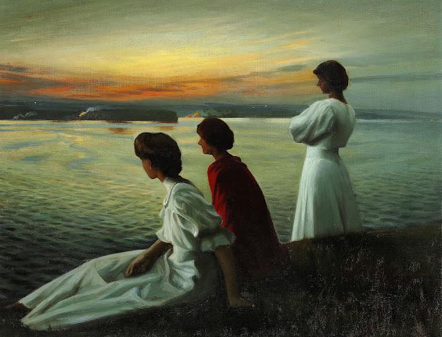Harald Slott-Møller: Sankt Hans - Tre unge damer nyder den lune sommeraften