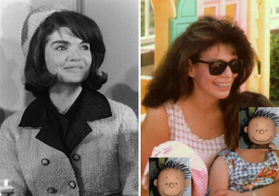 Jacqueline Kennedy at Fort Worth, Texas beside a photo of online writer DebW07 (aka Introspective)