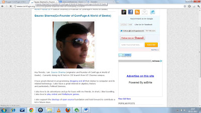 About me Page of Gaurav Sharma
