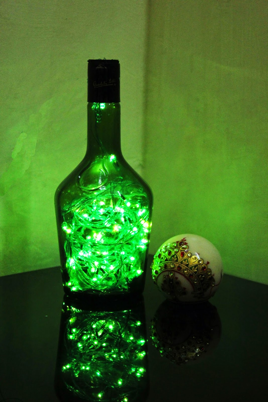 String Lights In Bottles : Guilty Bytes: Indian Fashion Blogger Style Blogger Beauty Blogger: DIY BOTTLE LAMP WITH ...