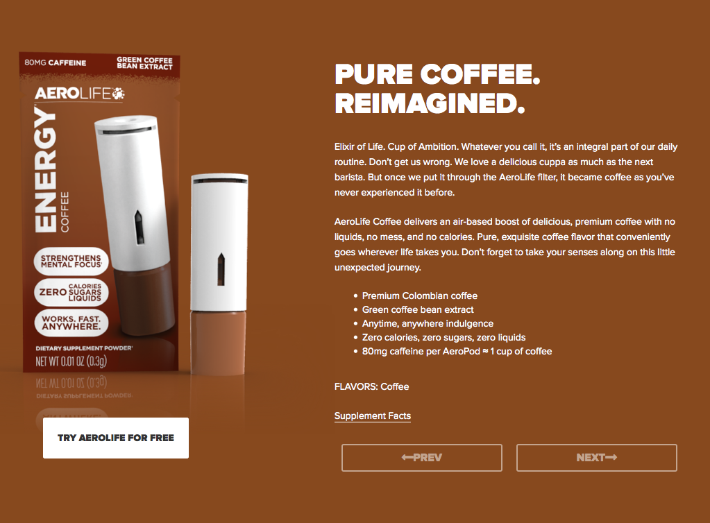 AeroShot: Inhalable Caffeine