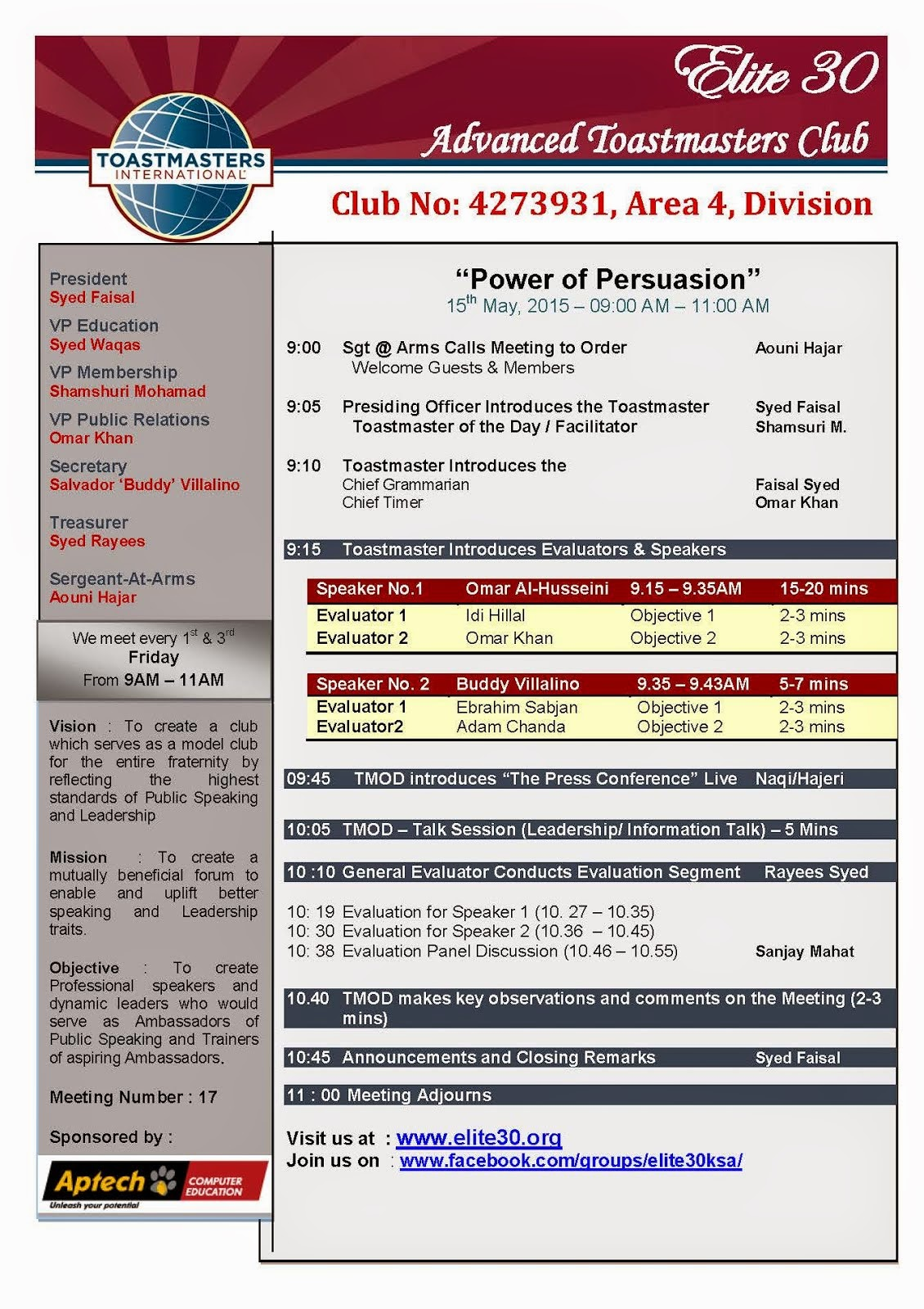 welcome to elite 30 division b district 79 official website meeting agenda for 15th 2015 power of persuasion