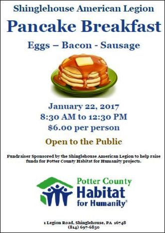 1-22 Pancake Breakfast, Shinglehouse