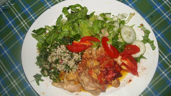 Mediterranean Dinner - Chicken Tandori, Lettuce, Tomato, touboli salad with cucumber sauce