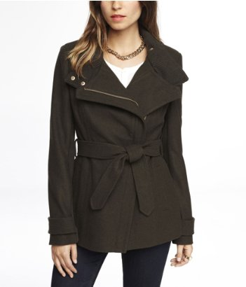express asymmetrical knit trimmed wool coat