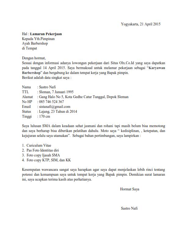 Surat Lamaran Kerja Barbershop atau Tukang Potong