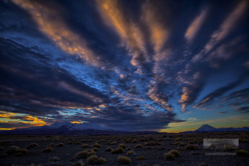 Sunset over the Tongariro Mountains