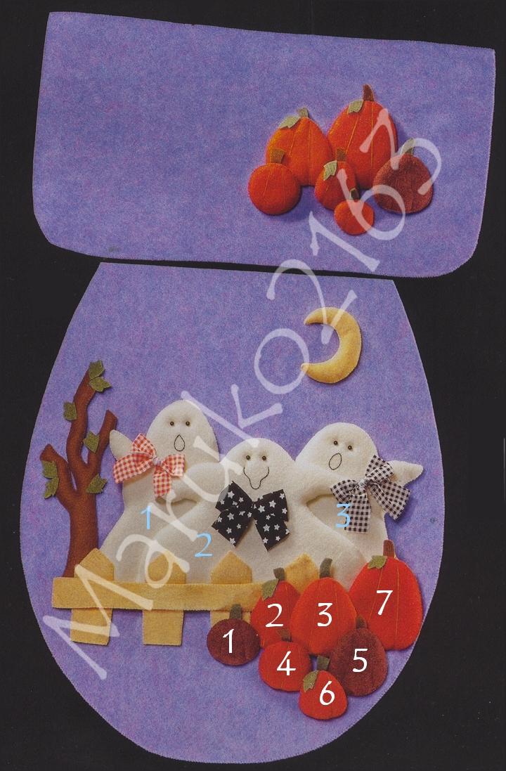 Juegos De Baño Halloween En Fieltro:UN GATO DE TRAPO: ♥ JUEGO DE BAÑO FANTASMAS ALEGRES ♥