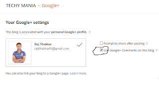 enable google plus comment on blogger
