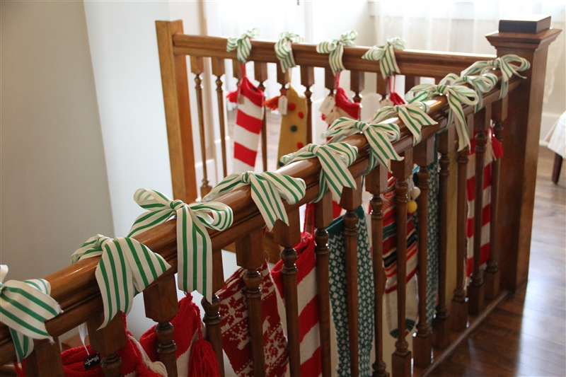 Our big house on the prairie the stockings were hung by for Hang stockings staircase
