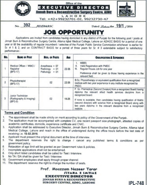 Doctors Jobs Jinnah Burns and Reconstructive Surgery Center Lahore