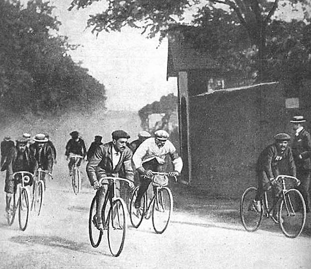 Cyclists ride in the first running of the Tour de France, in 1903.