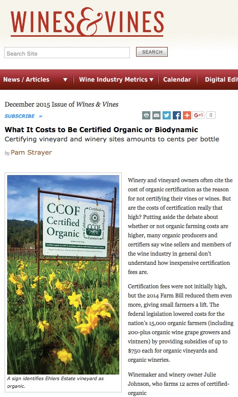 Organic Wines Uncorked: What Does It Cost to Be Certified Organic or ...