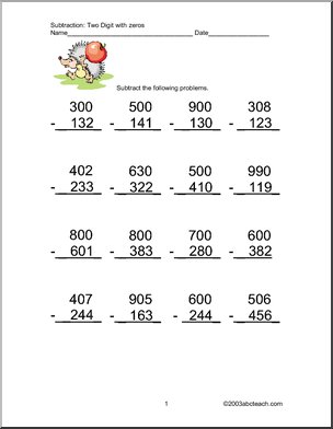 Printables. Three Digit Subtraction With Regrouping Worksheets ...