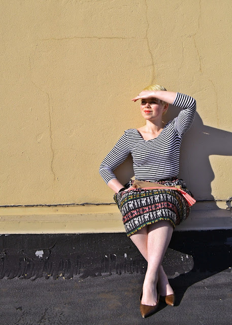 Pattern Mixing, seattle, street style, fleur d'elise, neon, South American, full skirt, cat eye glasses