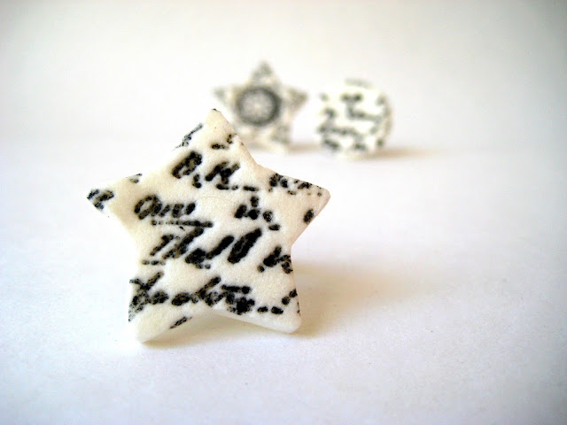 white clay star ring