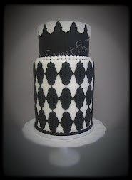Black & White Double Barrel Wedding Cake