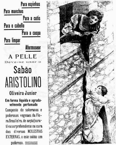 Propaganda do Sabão Aristolino em 1908 que usou Rapunzel no enredo.