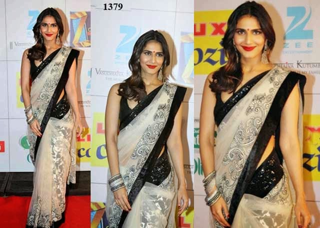 1379 - Vaani Kapoor in beautiful white designer embellished net saree At Zee Awards 2014