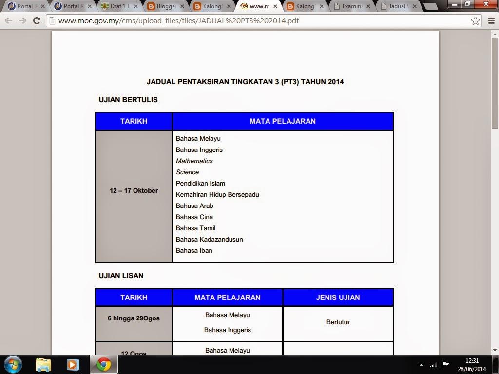 JADUAL PT3 2014