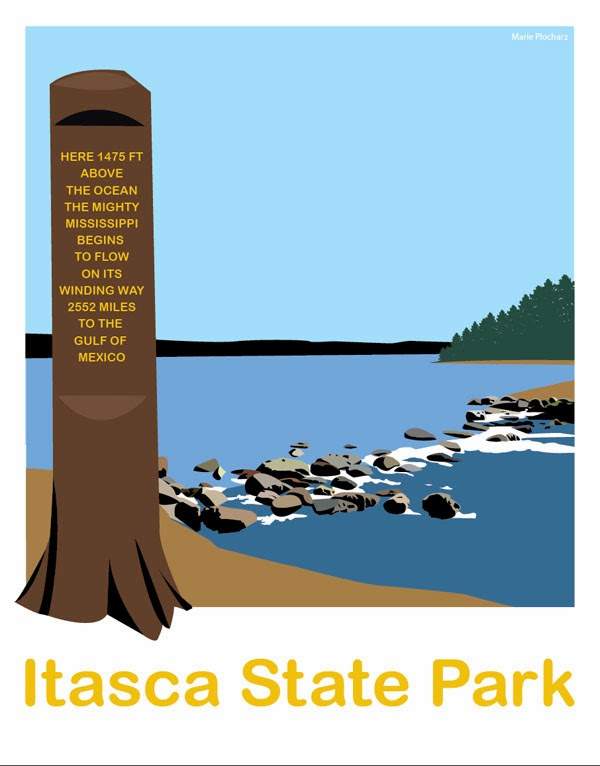 Itasca State Park Mississippi River Headwaters - MN Roadside Attraction Travel Poster