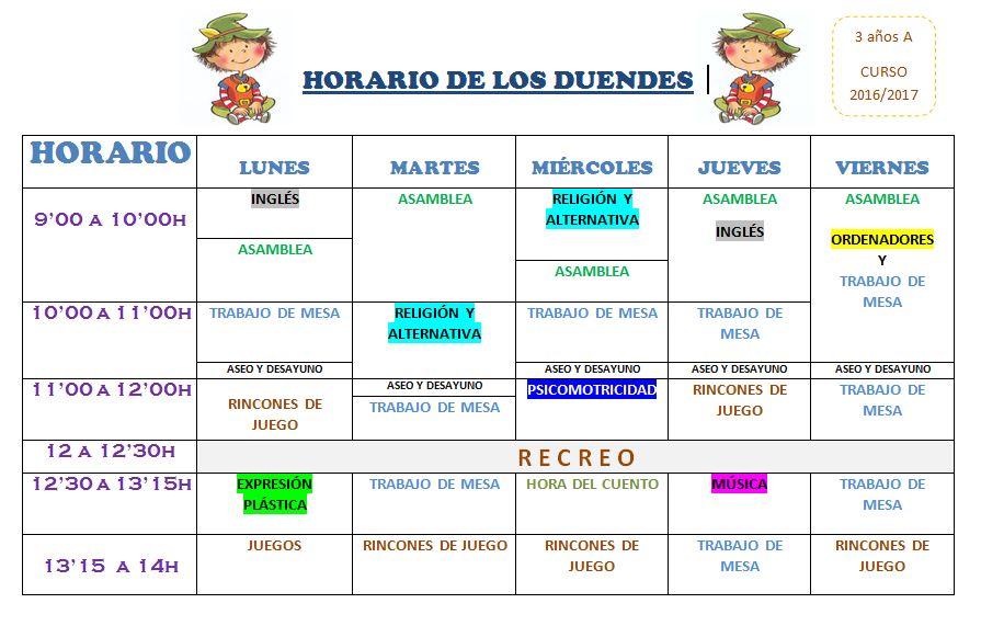HORARIO DUENDES
