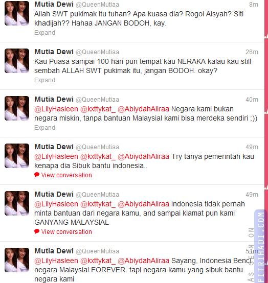 twitter queen mutia dewi hina islam allah malaysia