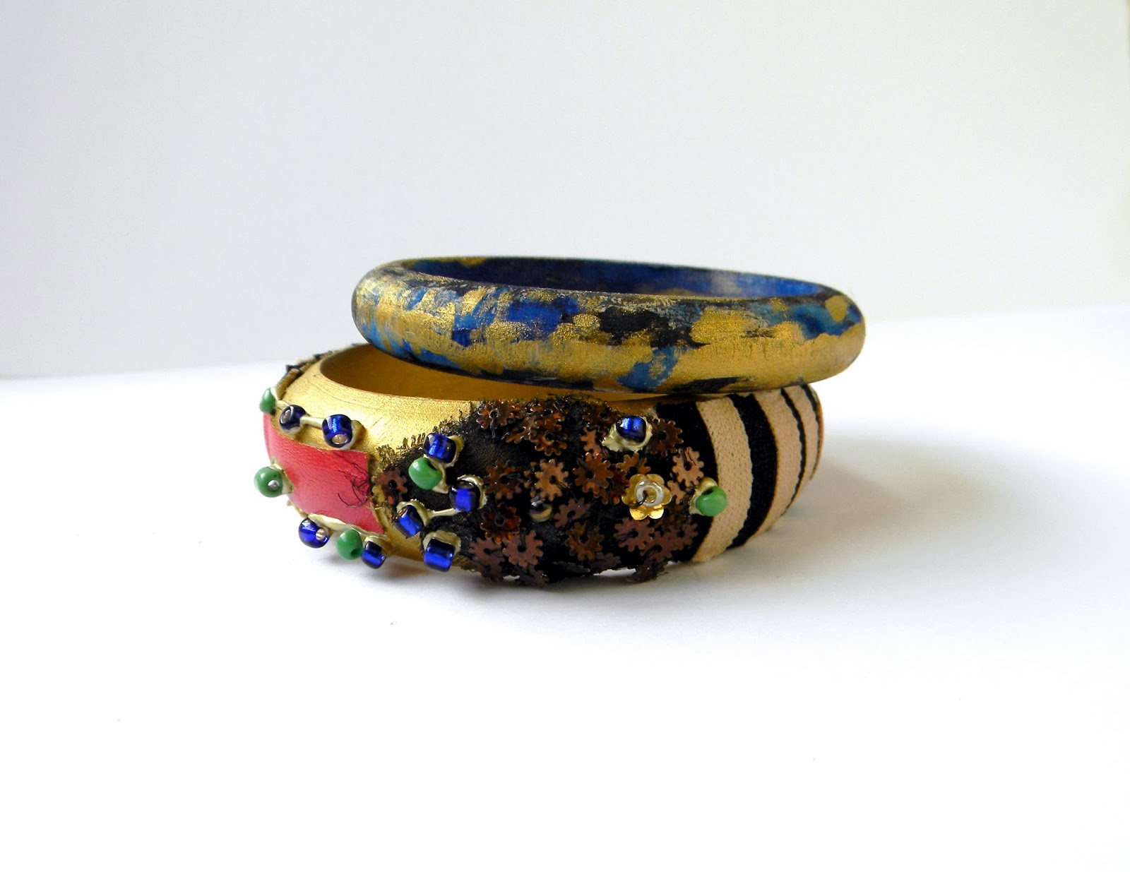 Patchwork Bracelets Set Colorful Playful Wooden Bracelets Colors Collage Steampunk Applique