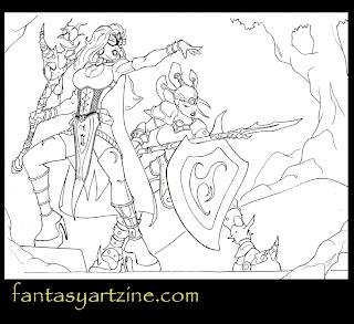 Girl lancer warrior and sorceress art drawing