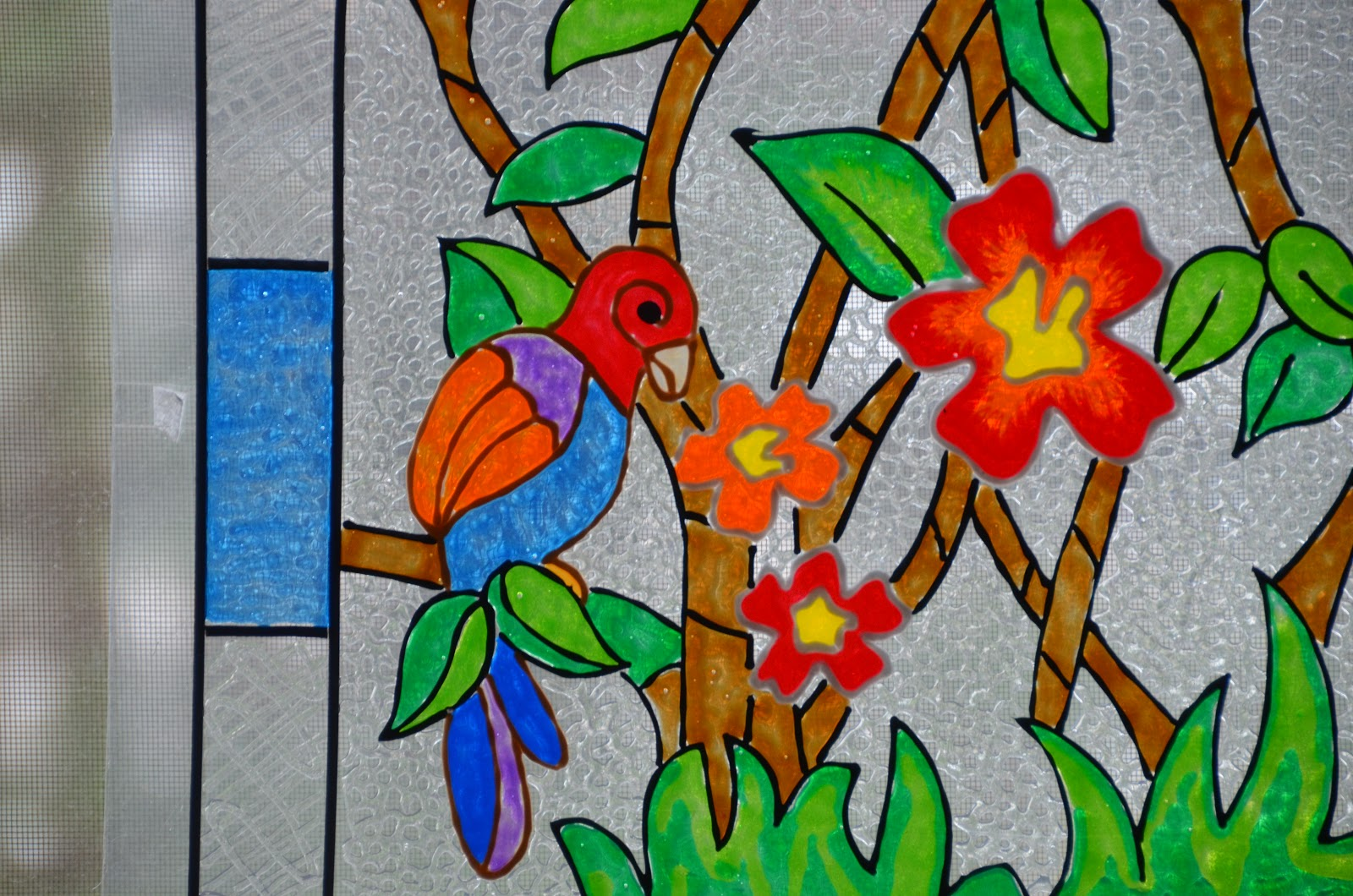Souji 39 s gathering ideas birds glass painting panels for Glass painting designs