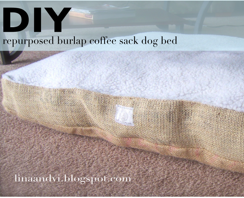 DIY Burlap Dog Bed - Lina and Vi