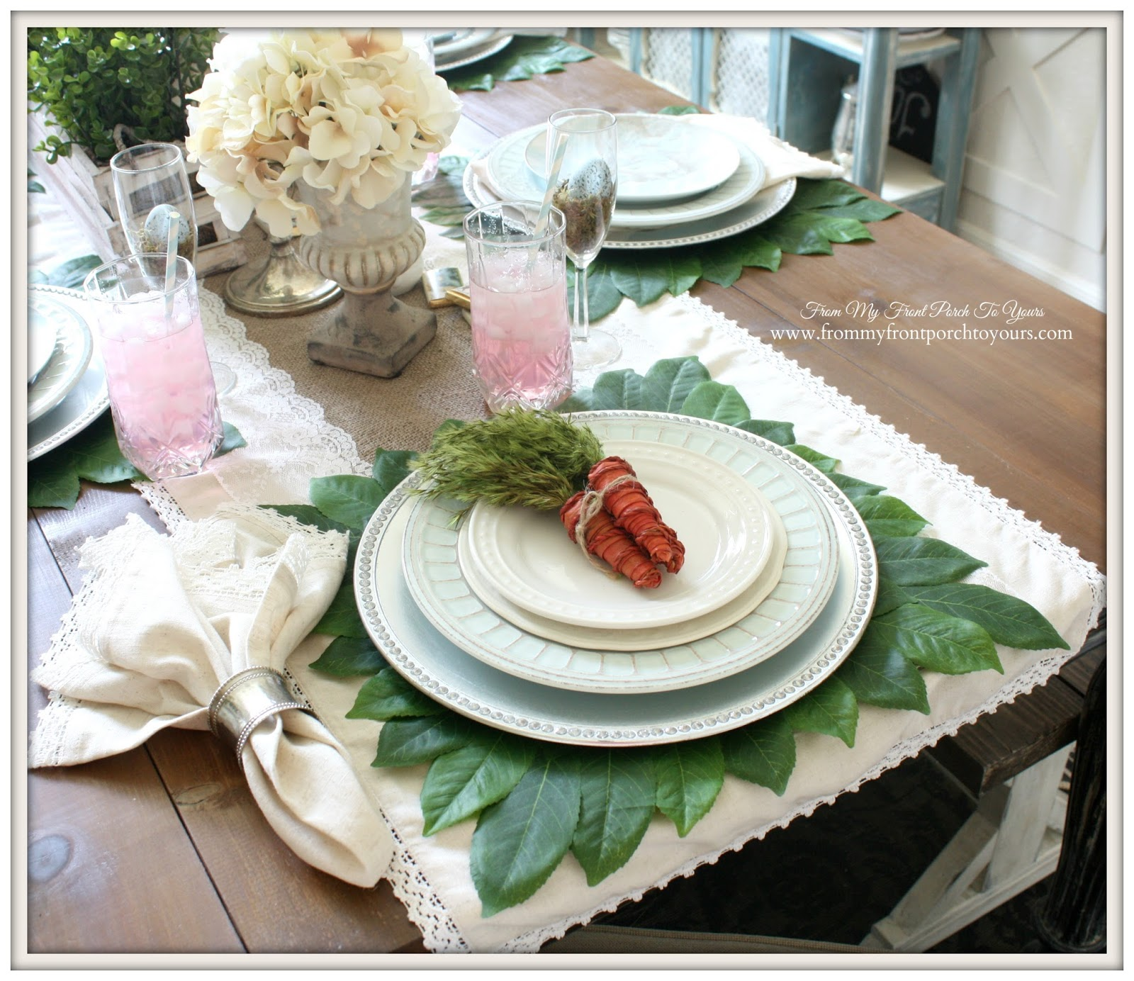 Easter Place Setting-French Farmhouse Easter Dining Room- From My Front Porch To Yours