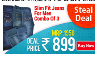 Steal Deal : Buy Slim Fit Jeans For Men Combo Of 3 for Rs.899 at Aakmebazaar: Buytoearn