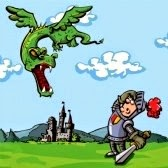 cartoon of a knight facing a flying dragon