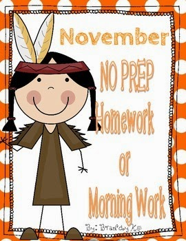 http://www.teacherspayteachers.com/Product/November-NO-PREP-Kindergarten-Homework-or-Morning-Work-1527905