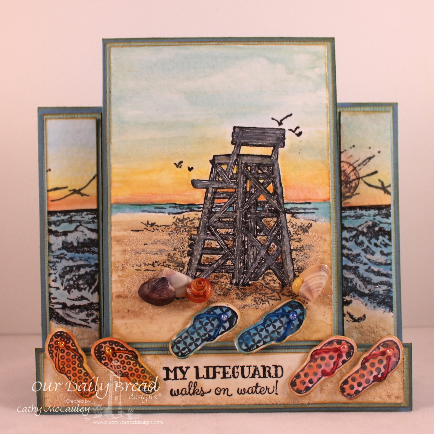 Stamps - Our Daily Bread Designs My Lifeguard, The Mighty Sea, Flip Flop Fun, ODBD Custom Flip Flop Dies