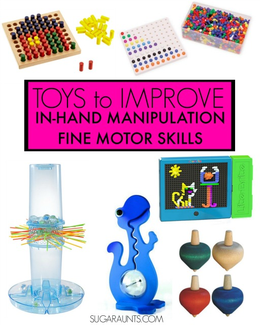 Toys and tools for working on in-hand manipulation skills in kids, perfect for handwriting, pencil use, buttoning, scissor use, zippering, and more from an Occupational Therapist.