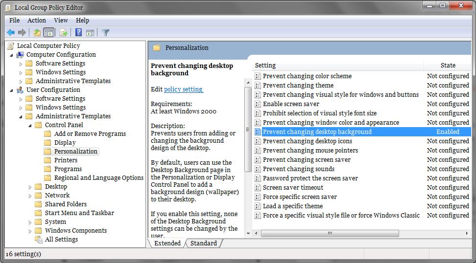 ilfan blog cara disable change desktop background windows 7