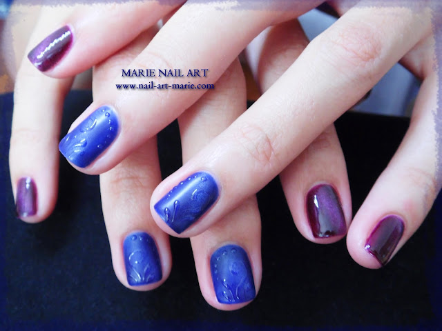 nail art avec semi-permanent effet oeil de chat1