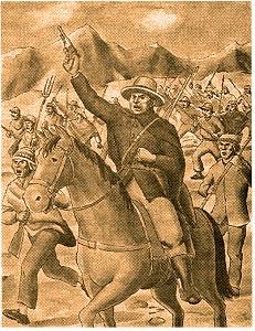 ⓑ Ilustración de Atusparia dirigiendo a los campesinos