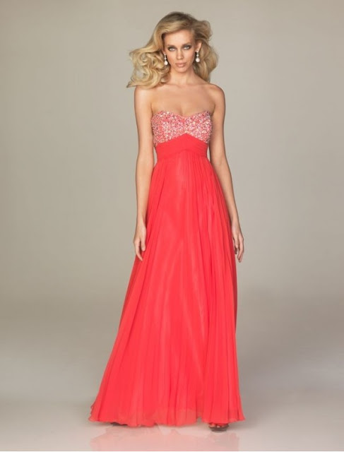 Chiffon Sweetheart Strapless Neckline Empire Prom Dress with Beaded Bust