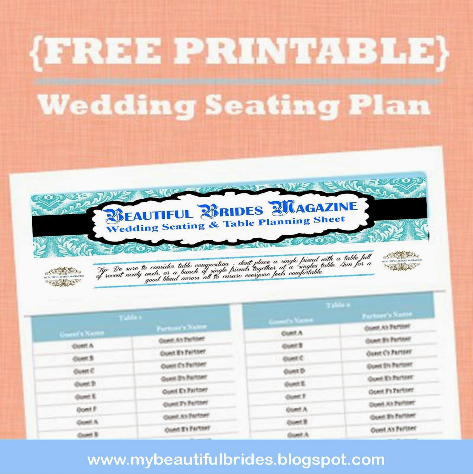 Beautiful Brides Magazine Wedding Table Planner Seating Chart Workbook - Free table planner