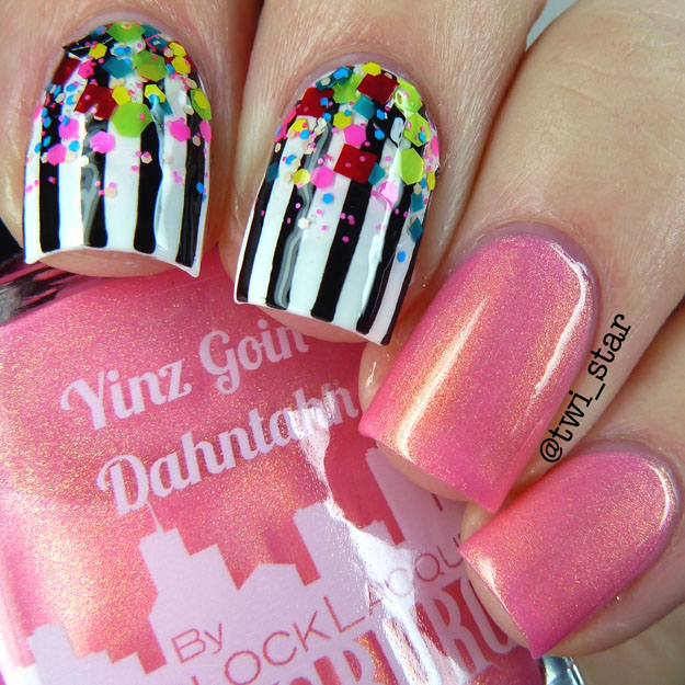 Gridlock Lacquer Yinz Going Dahntahn pink orange duochrome polish swatch