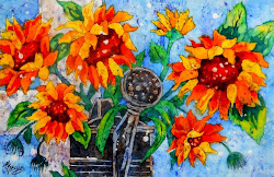 Watercolor Batik Workshop  Country Sunflowers Mar 15, 2014