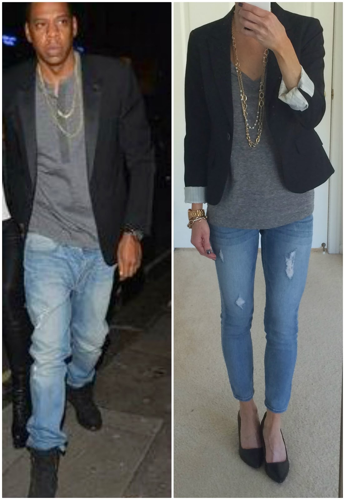 Jay Z Street Style, Blazer, Tee, Jeans Outfit