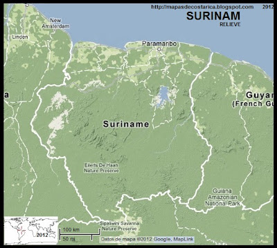 Relieve de SURINAM, Google Maps