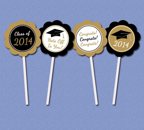 ... Printable Party Decor: DIY Graduation Printable Cupcake Toppers and