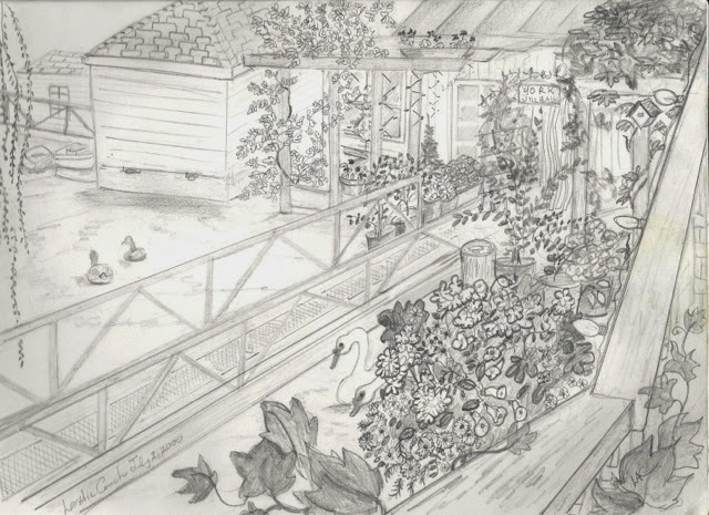 A pencil sketch of the ramp garden