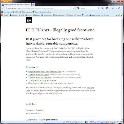 Screen shot of http://garrettwinder.com/articles/illegally-good-front-end-eeciconf2012-eu/.